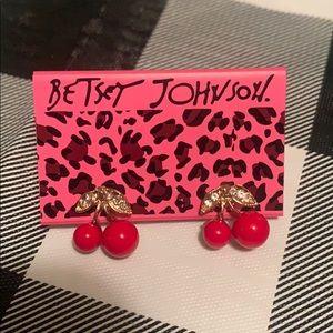 Betsey Johnson Cherry 🍒 Earrings w/ Rhinestones